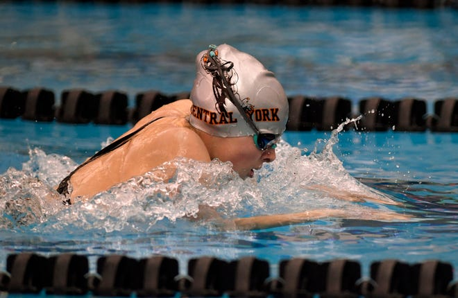 Central York's Camryn Leydig, seen here in a file photo, finished fifth in the 100 butterfly at the PIAA Class 3-A Swimming Championships.