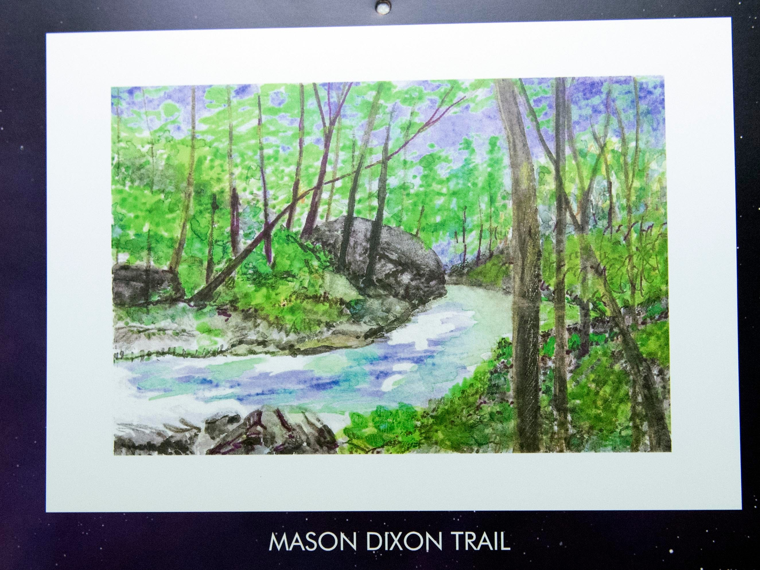 While Mary Magenta likes to paint on location, she sometimes paints from photos she or a friend take while hiking. Magenta's 2019 calendar, 'Around Here,' features many places from York County.