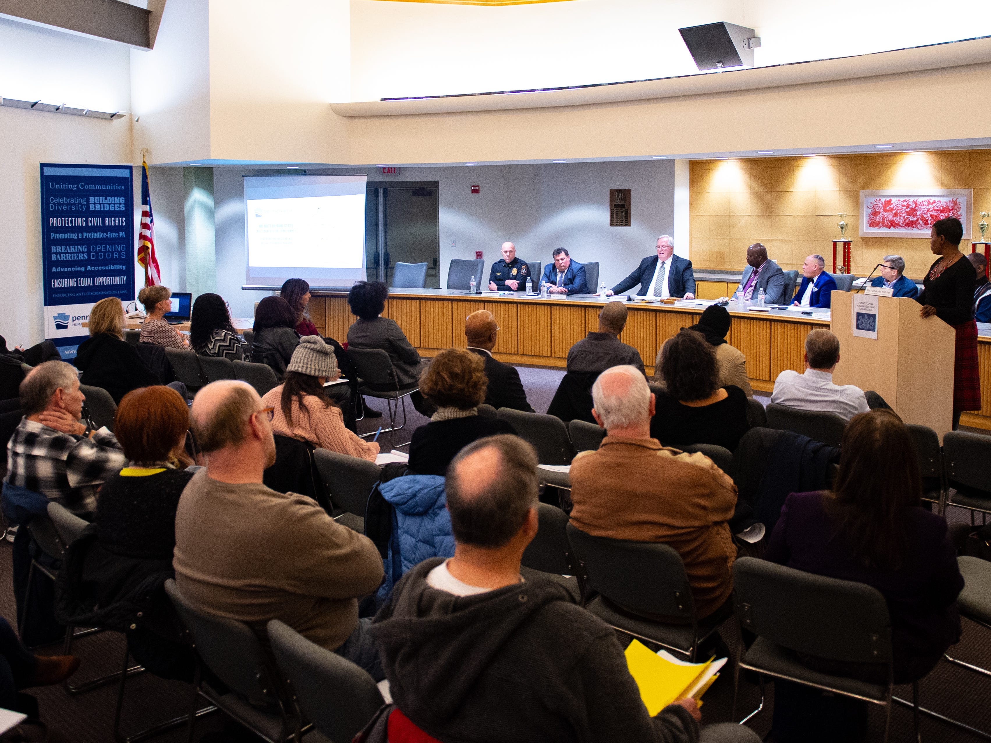 The panelists spoke to a full audience of Yorkers of all races and ethnicities concerned about their safety during the No Hate in Our State town hall meeting at the West Manchester Township Building, December 20, 2018.