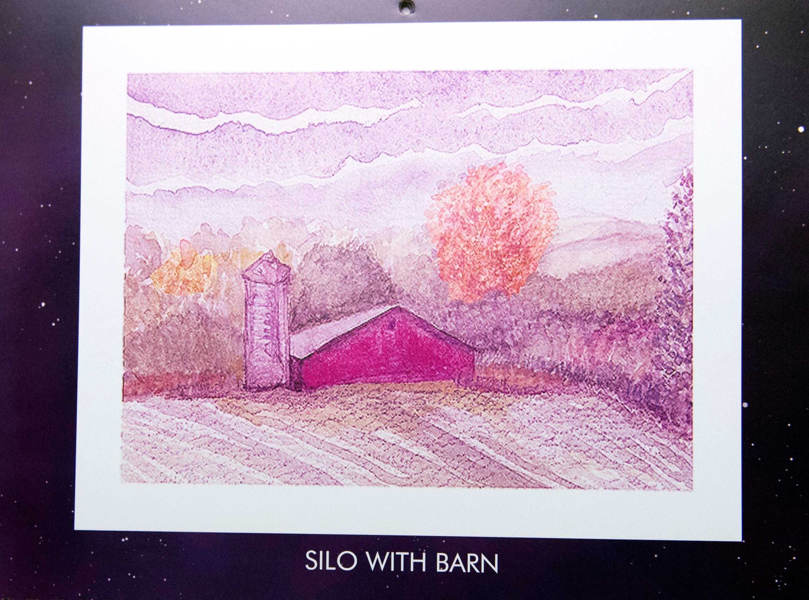 While Mary Magenta's paintings usually depict just landscapes, she hinted that in the future, she might paint more barns, like this painting that is seen on October's page. Magenta's 2019 calendar, 'Around Here,' features many places from York County.