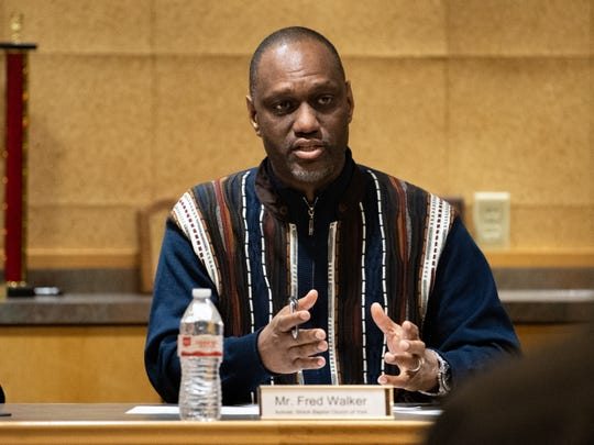 Activist and member of the Shiloh Baptist Church of York Fred Walker discusses the impact racism is having on the community and its children during the No Hate in Our State town hall meeting at the West Manchester Township Building, December 20, 2018.
