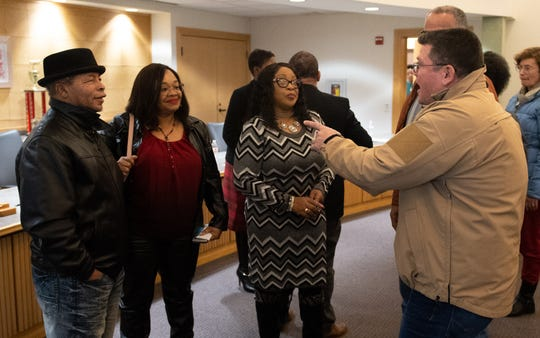 "Northern York County Regional Police Chief Mark Bentzel (far right) met four of the ""Grandview Five"" at the end of the No Hate in Our State town hall meeting at the West Manchester Township Building. (Right to left) Carolyn Dow, Sandra Harrison and her husband have an insightful conversation with the Chief, December 20, 2018."
