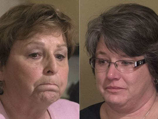 Elaine Miller, left, and Missy Sweitzer, both lost  sons who were struck by drunk drivers.