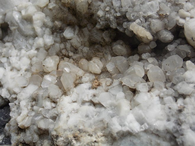 """A pocket of quartz crystals in limestone near Newville, Cumberland County.  Crystals are about 0.5"""" in size."""