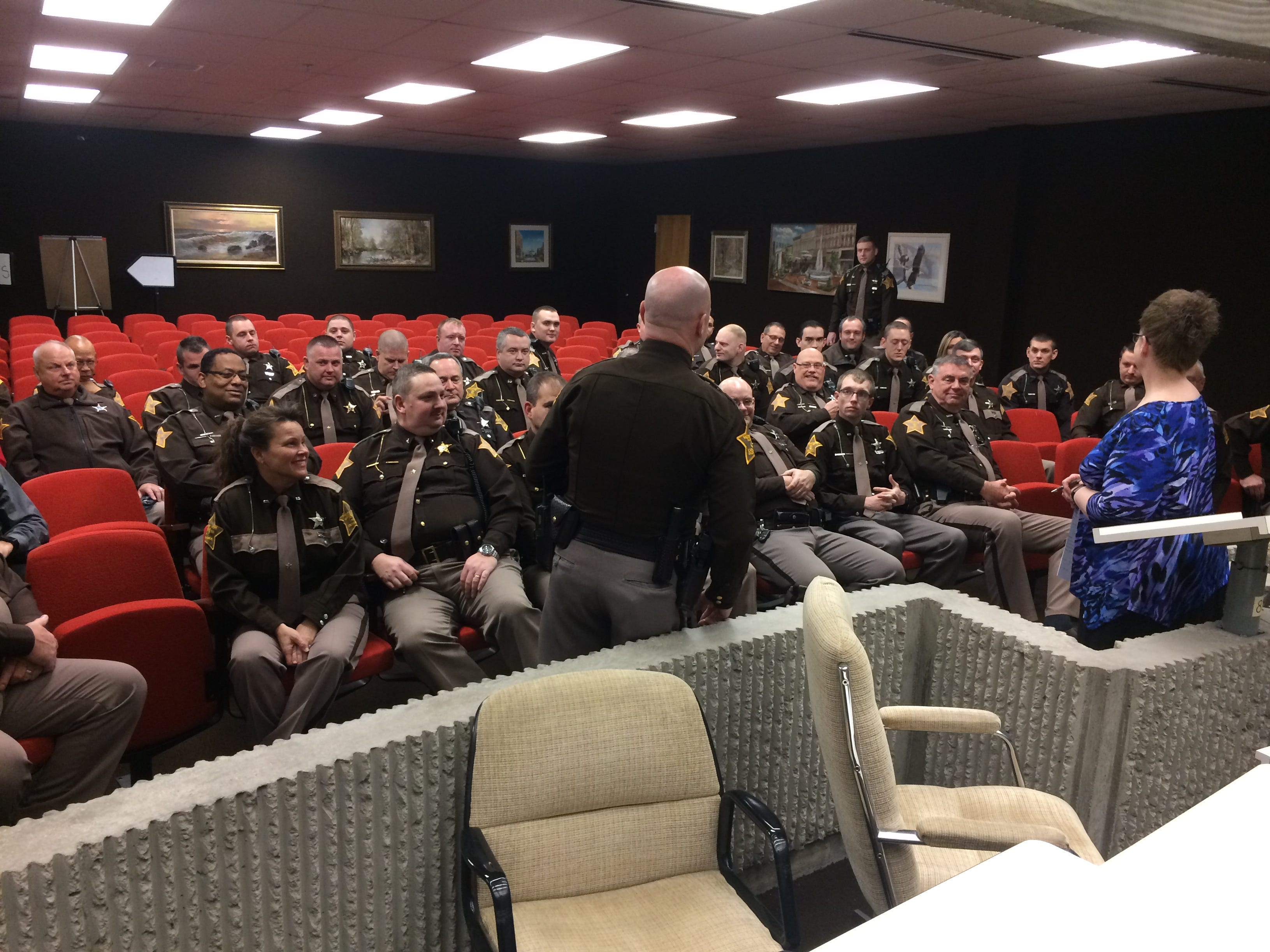 Wayne County Sheriff's Office personnel gather Friday for a swearing in ceremony.