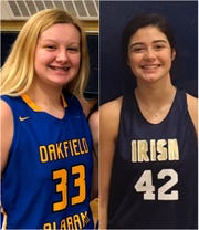 Brianna Smith of Oakfield-Alabama, left, and Callie McCulley of Batavia Notre Dame share the D&C Girls Athlete of the Week Award for Dec. 3-9.