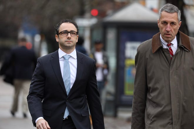 Kevin Morgan, left, nephew of developer Bob Morgan, heads into federal court.