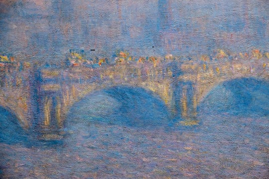 """MAG's """"Waterloo Bridge, Veiled Sun"""" (1903): The """"Monet's Waterloo Bridge: Vision and Process"""" exhibit is at the Memorial Art Gallery through Jan. 6, 2019. Claude Monet's """"Waterloo Bridge"""" series includes the example from MAG's collection along with seven others borrowed from North American sister institutions."""