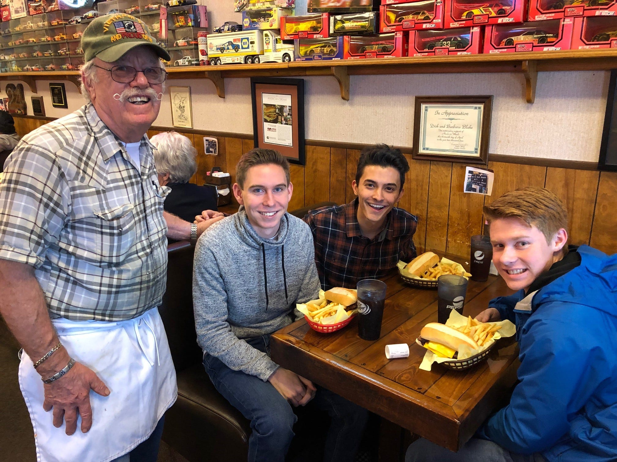 Owner Dick Blake, left, Nathan Fisher, Arshaad Hakmiller and Gary Winthorpe at Giff's Steakburger in east Redding.