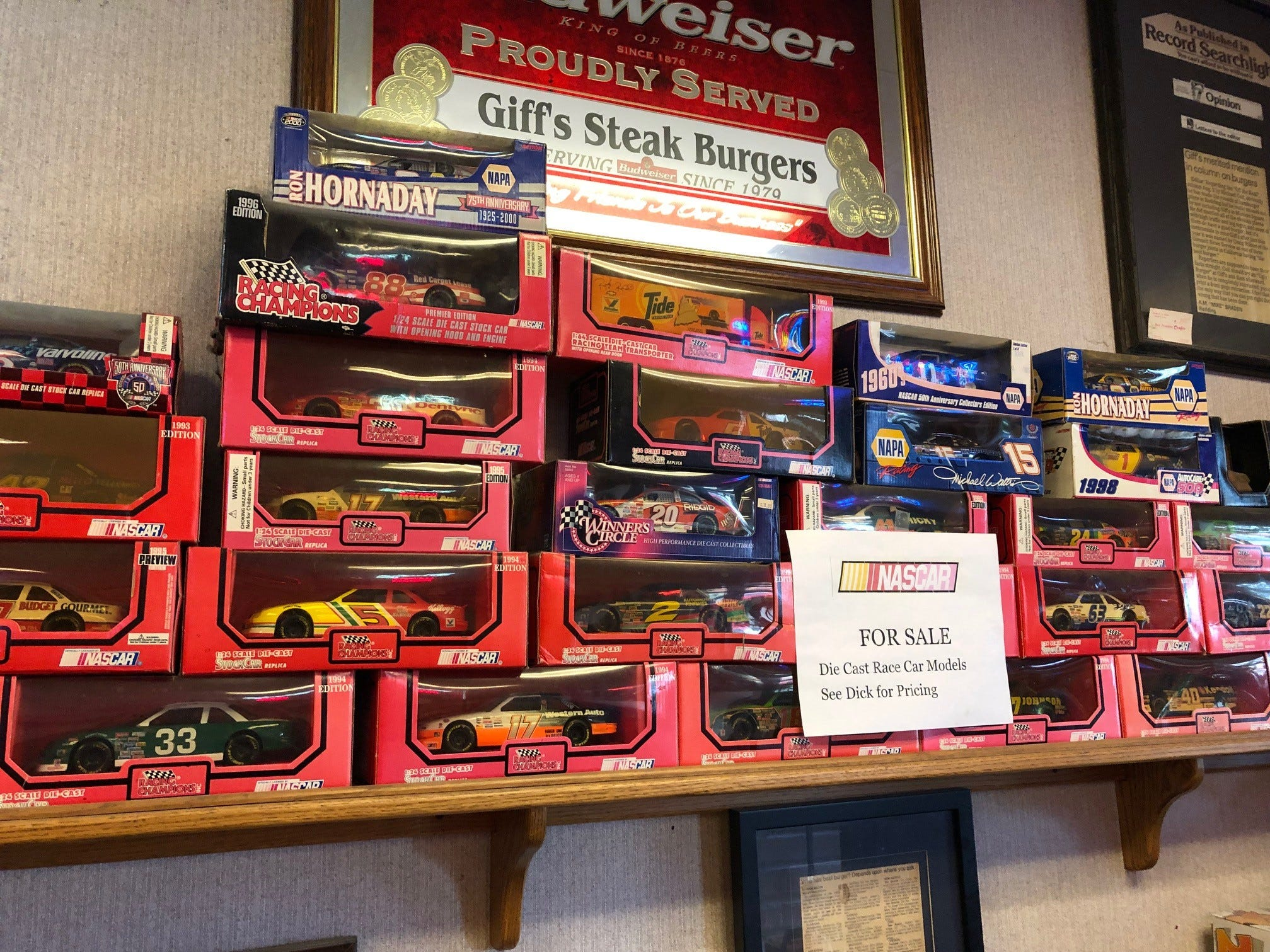 Part of the decor at Giff's Steakburger— model race cars.