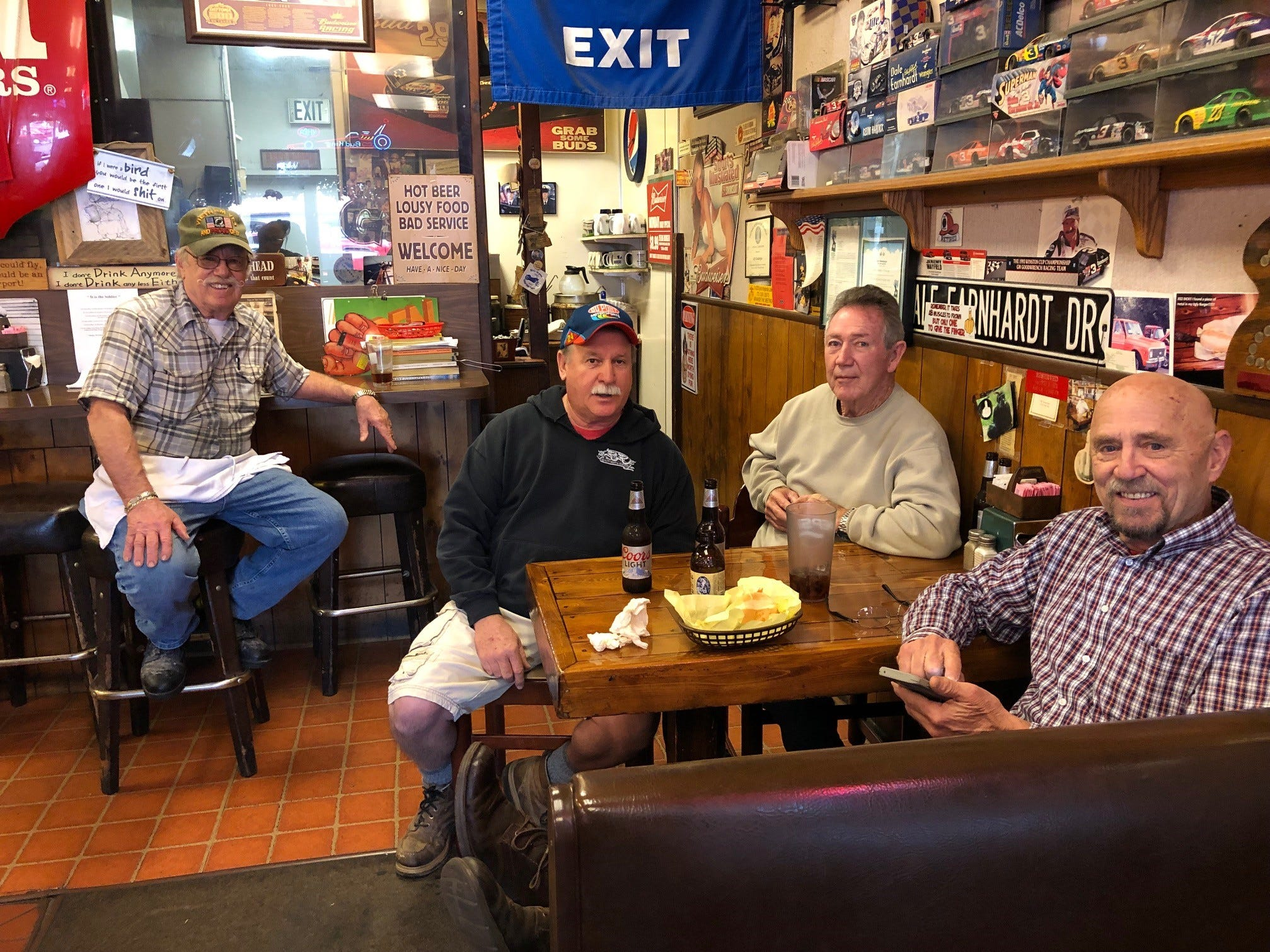 Owner Dick Blake with Giff's regulars Mark Caulfield, Deke Dent and Bob Mitchell at the east Redding restaurant, now in its 40th year.