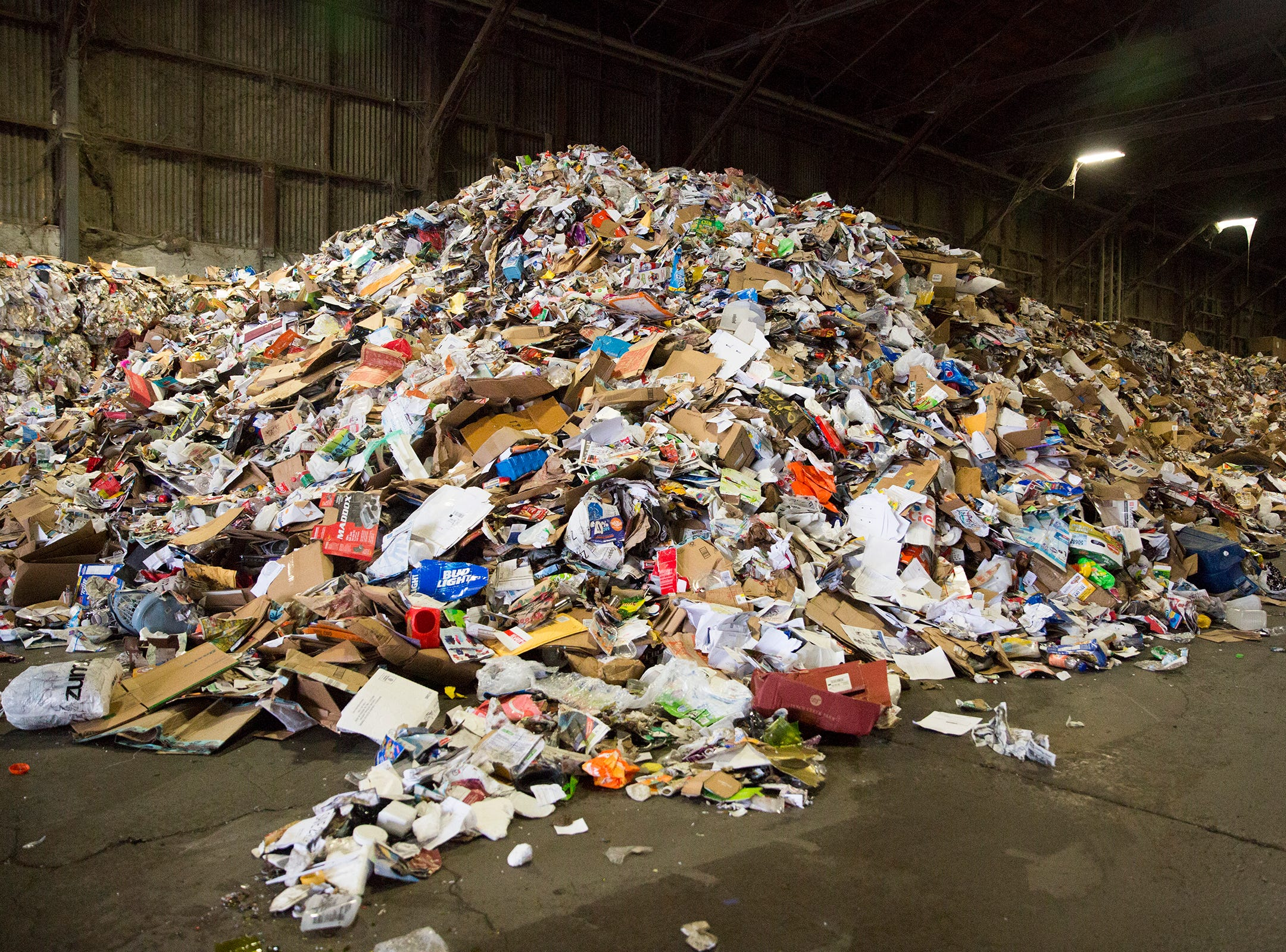 Items that cannot be recycled pile up at Garten Recycling in Salem on Thursday, Dec. 20, 2018.