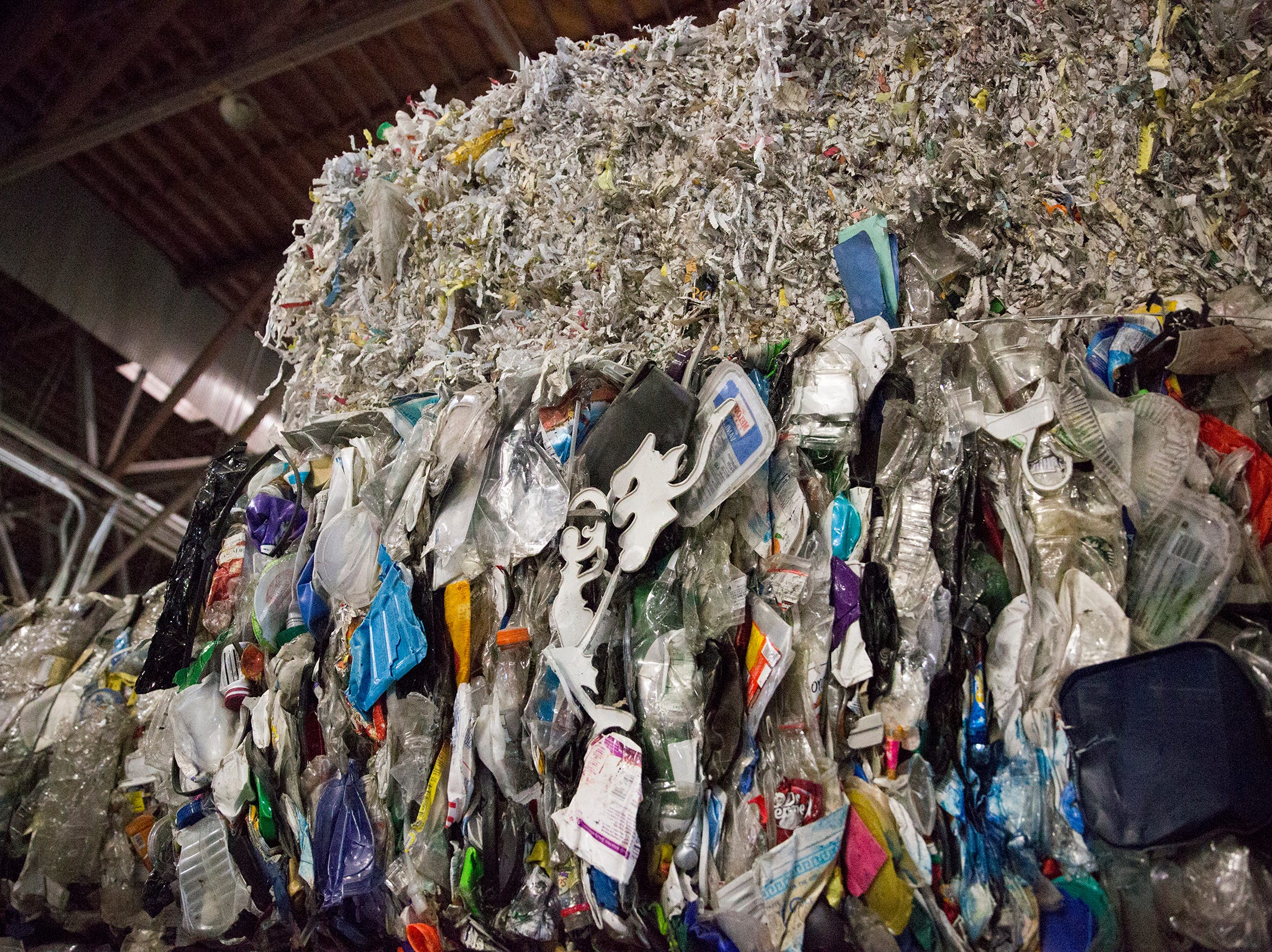 Recycled materials are stacked up at Garten Recycling in Salem on Thursday, Dec. 20, 2018.