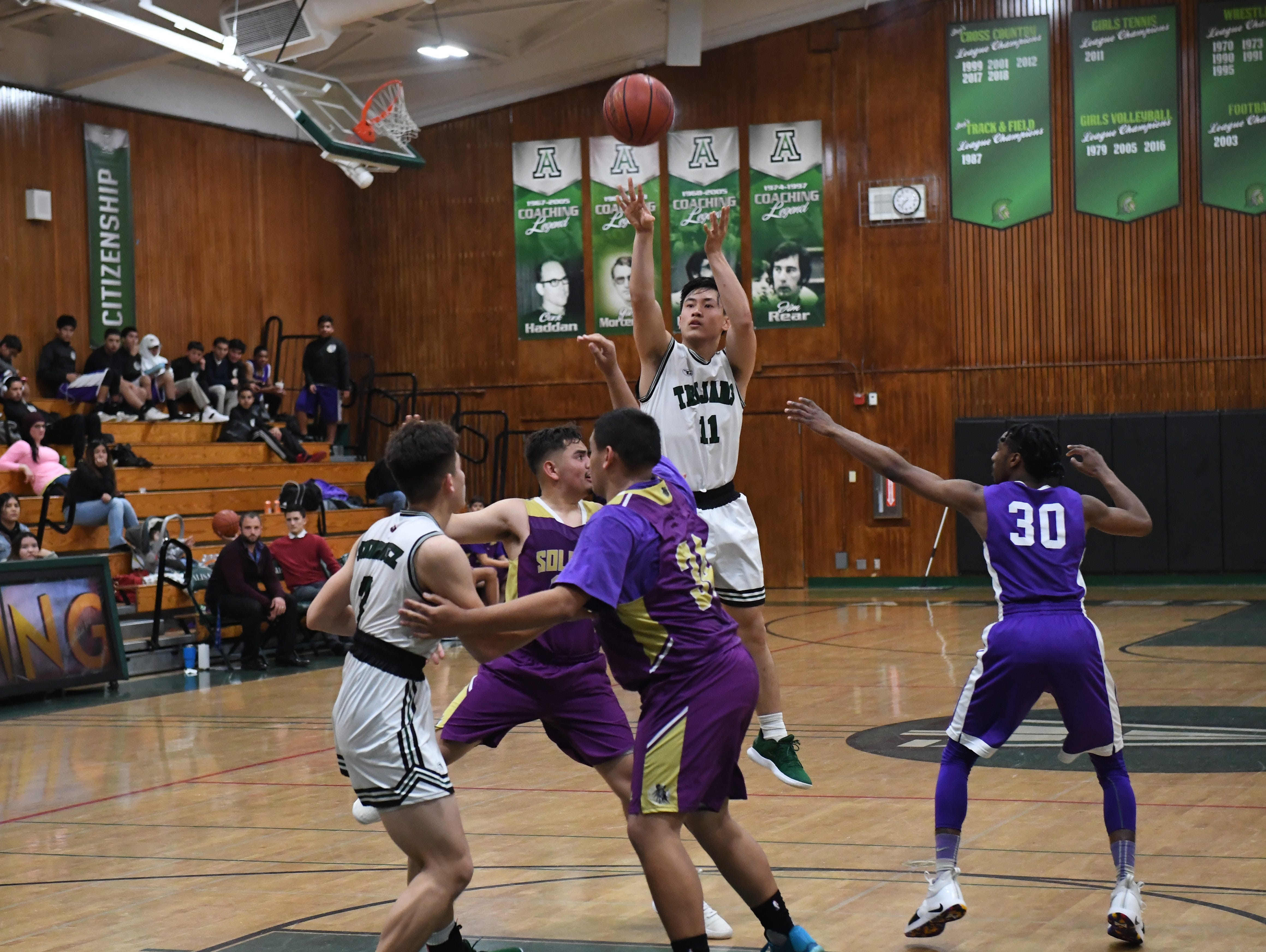 Alisal guard Joshua Vuoung (11) shoots a 3-pointer in the third quarter.