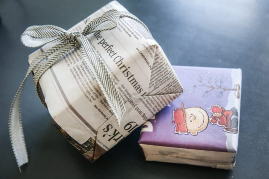 Newspaper can be used as wrapping paper for gifts.