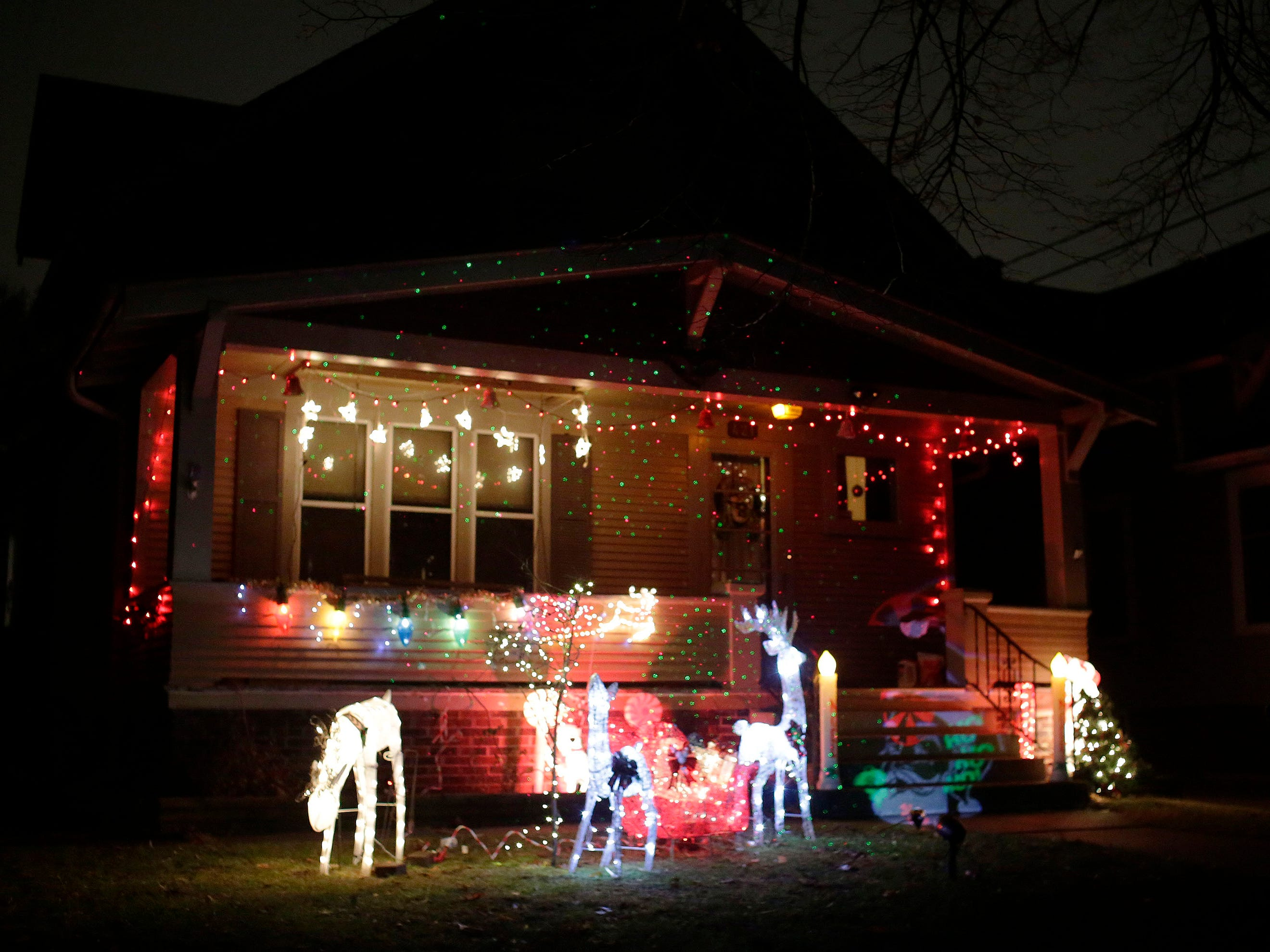 A home is decorated for the holidays on Grant Street, Thursday, December 20, 2018, in Sheboygan, Wis.