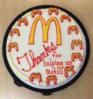 An ice cream cake made to thank McDonald's.