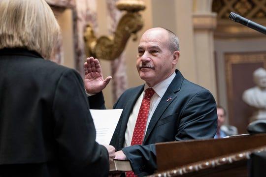 Minnesota Sen. Jeff Howe, R-Rockville, is sworn in to the Senate on Tuesday, Dec. 11.