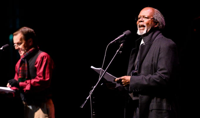 Clarence Gilyard plays Ebenezer Scrooge in A Christmas Carol on the Air in the Heritage Center Theater Thursday, December 20 2018. Clarence Gilyard, known for his roles in Walker, Texas Ranger, Matlock, and Top Gun, is the guest actor for the play. The show has performances Friday and Saturday nights at 7:30 p.m. and tickets are $15 and can be bought at the door.
