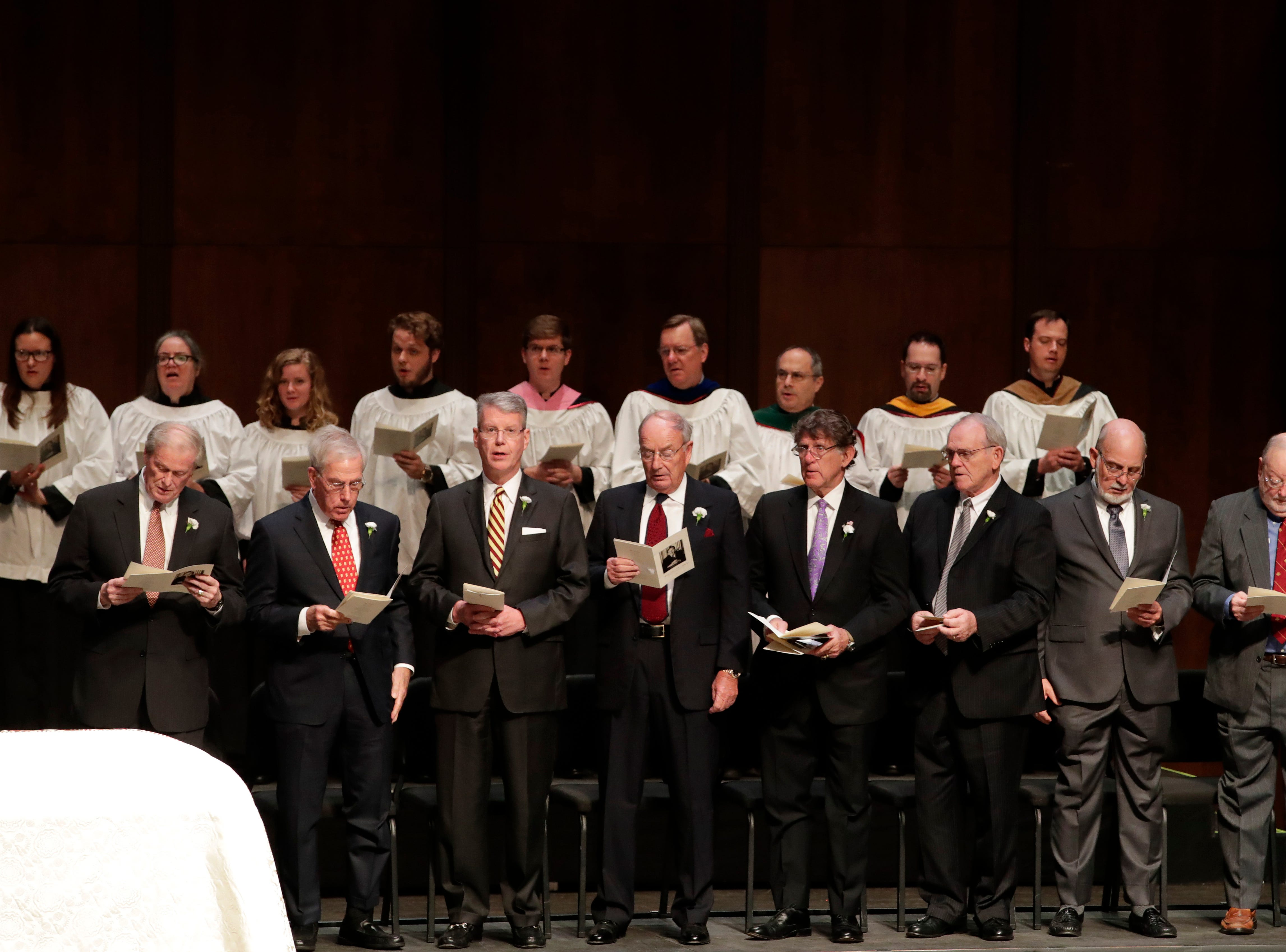 Pall bearers sing along during a funeral service for Florida State University President Emeritus T.K. Wetherell held at Ruby Diamond Concert Hall Friday, Dec. 21, 2018.