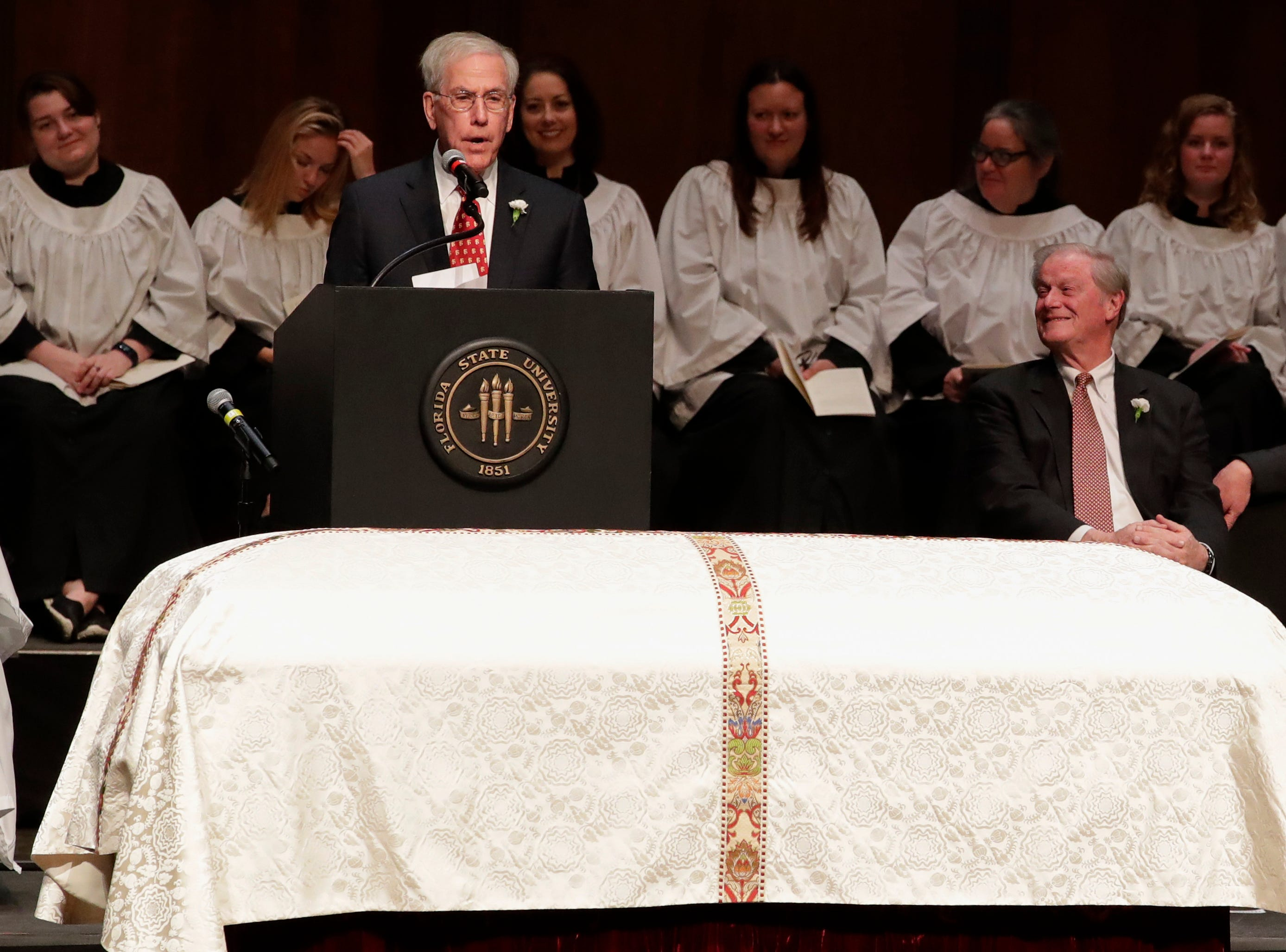 Jim Smith shares his words of remembrance during a funeral service for Florida State University President Emeritus T.K. Wetherell held at Ruby Diamond Concert Hall Friday, Dec. 21, 2018.