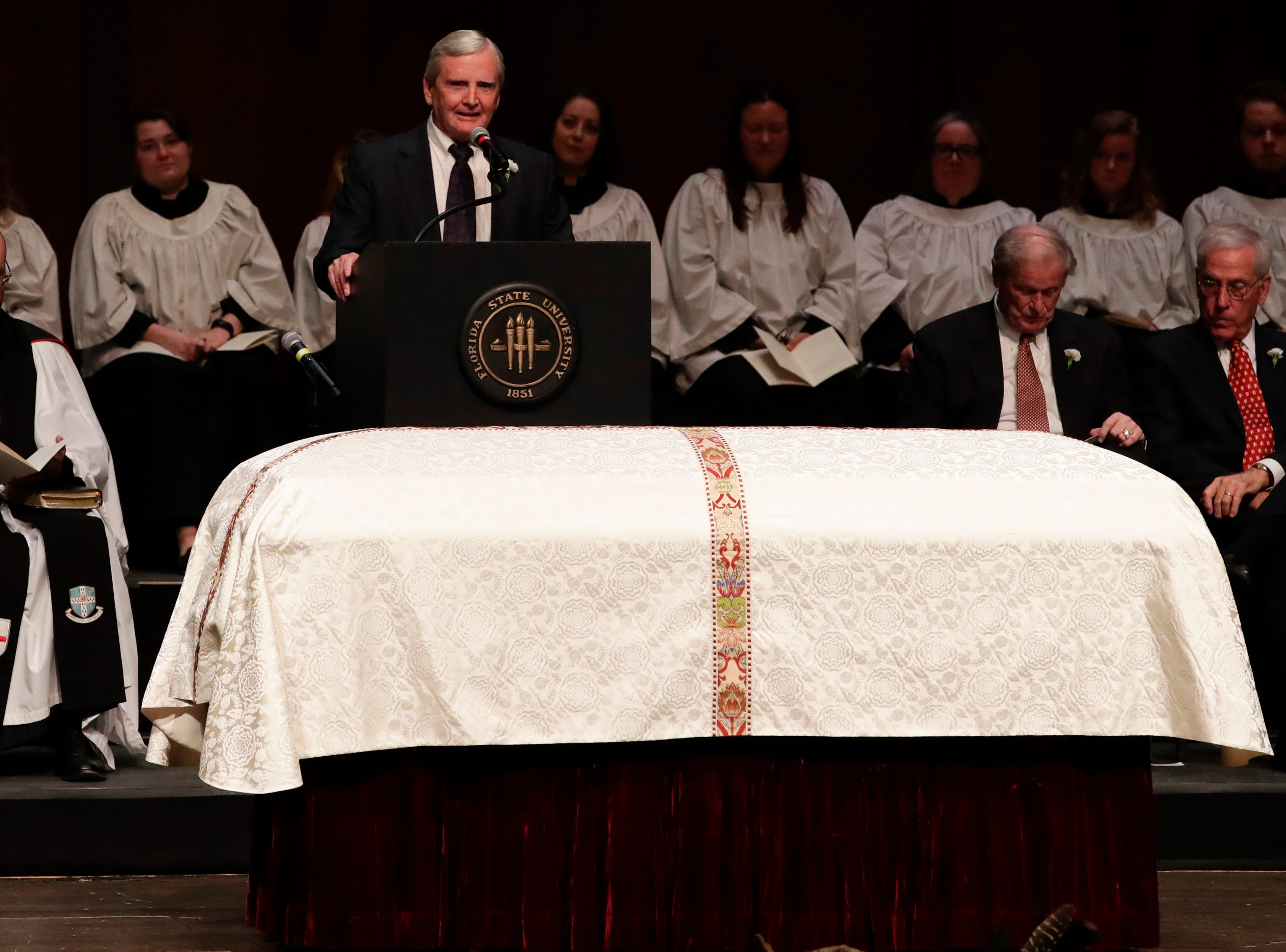 Bob Williamson shares his words of remembrance during a funeral service for Florida State University President Emeritus T.K. Wetherell held at Ruby Diamond Concert Hall Friday, Dec. 21, 2018.