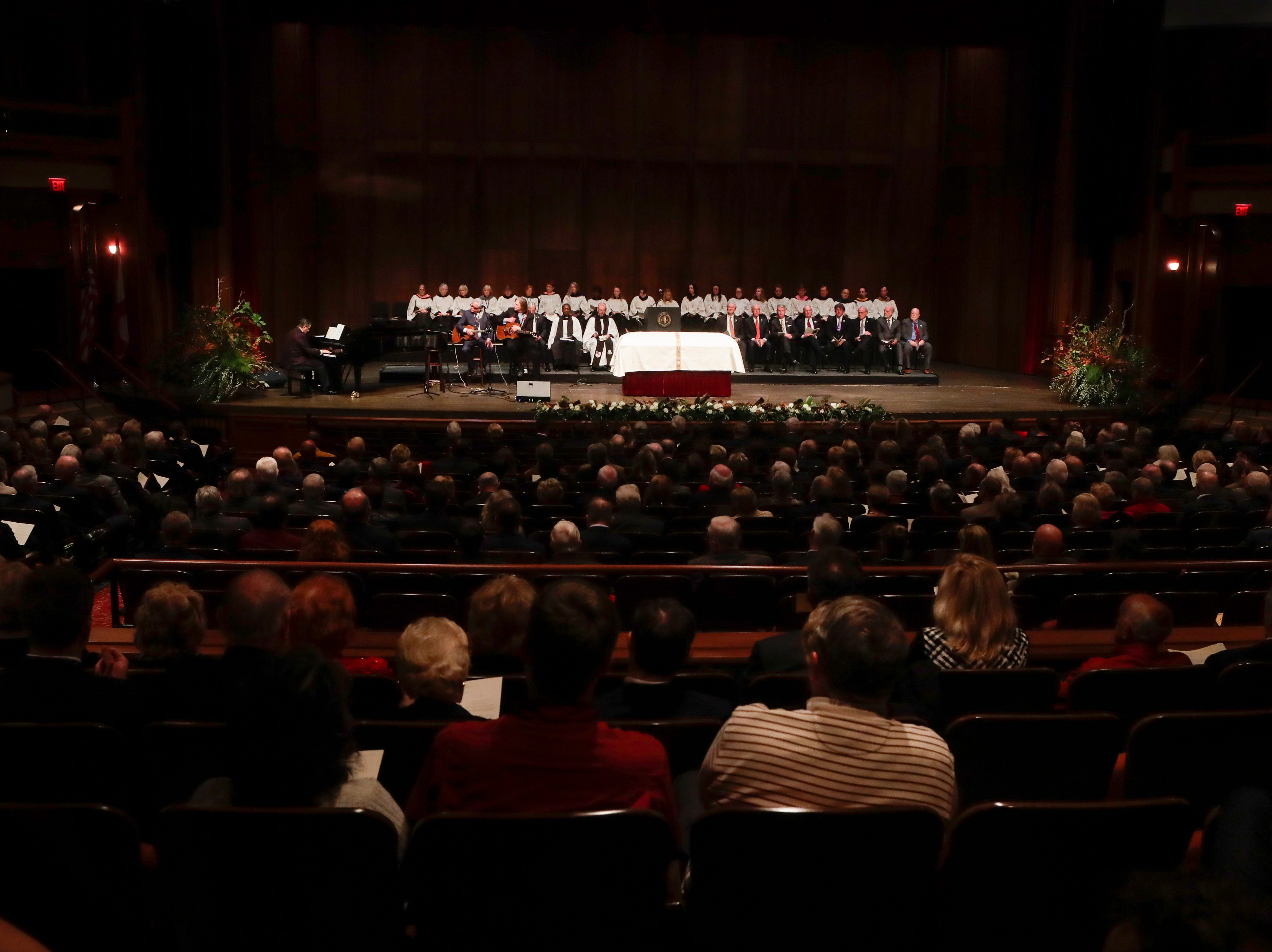 Florida State University President Emeritus T.K. Wetherell's casket sits in the center of the stage during a funeral service for Wetherell held at Ruby Diamond Concert Hall Friday, Dec. 21, 2018.