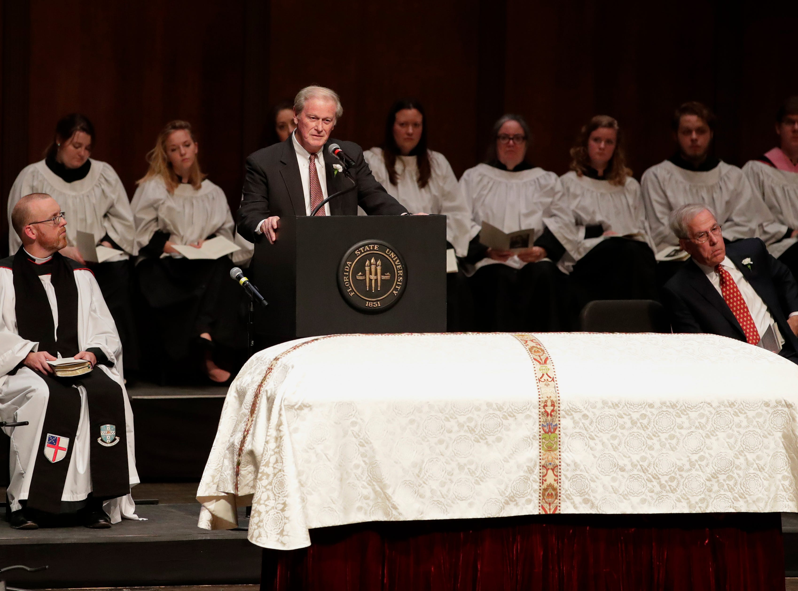 Florida State University President John Trasher shares his words of remembrance during a funeral service for Florida State University President Emeritus T.K. Wetherell held at Ruby Diamond Concert Hall Friday, Dec. 21, 2018.