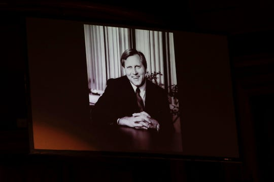 A photo of Florida State University President Emeritus T.K. Wetherell is displayed during his funeral service held at Ruby Diamond Concert Hall Friday, Dec. 21, 2018.