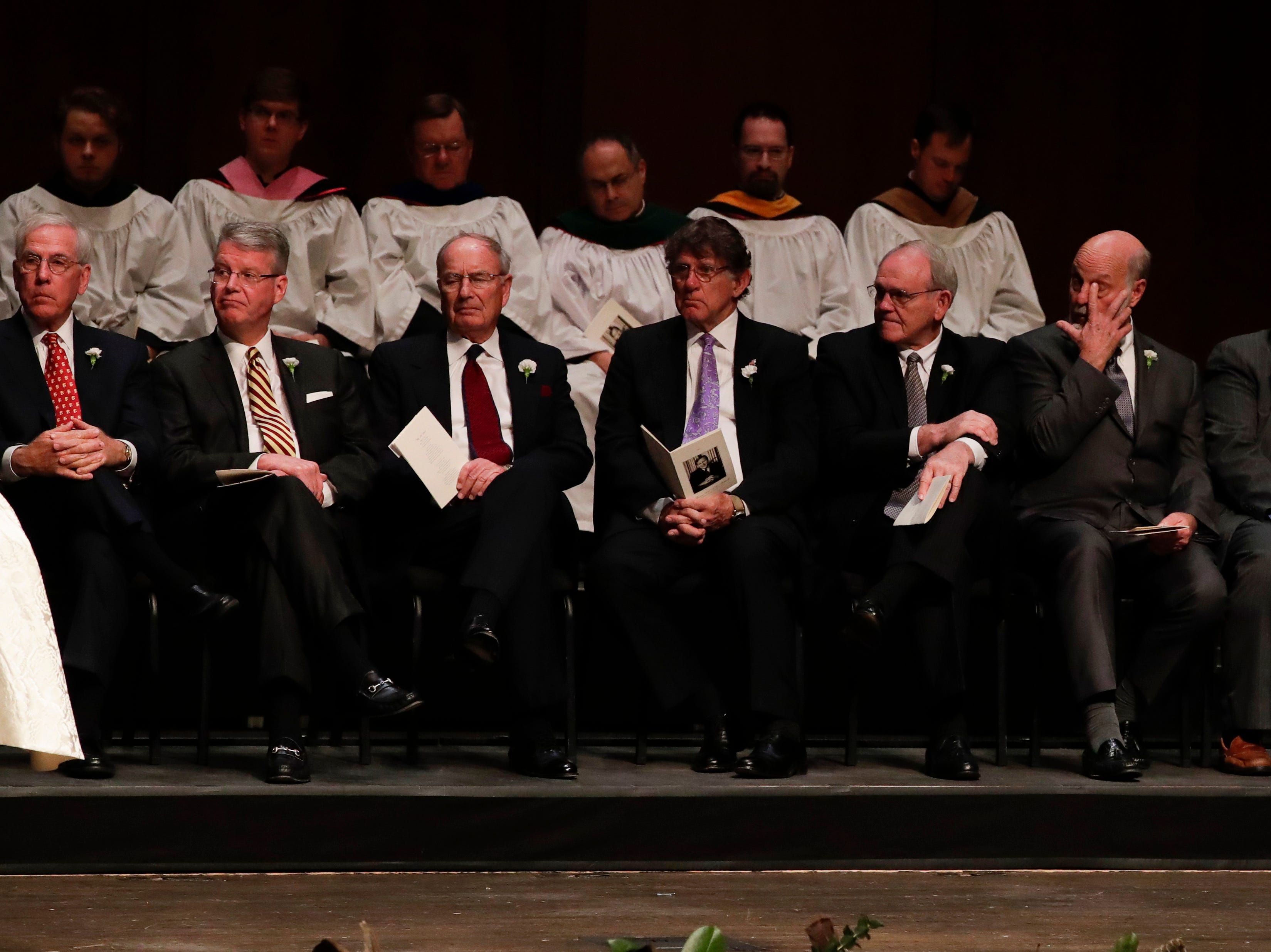 Pall bearers listen as Bob Williamson shares his words of remembrance during a funeral service for Florida State University President Emeritus T.K. Wetherell held at Ruby Diamond Concert Hall Friday, Dec. 21, 2018.