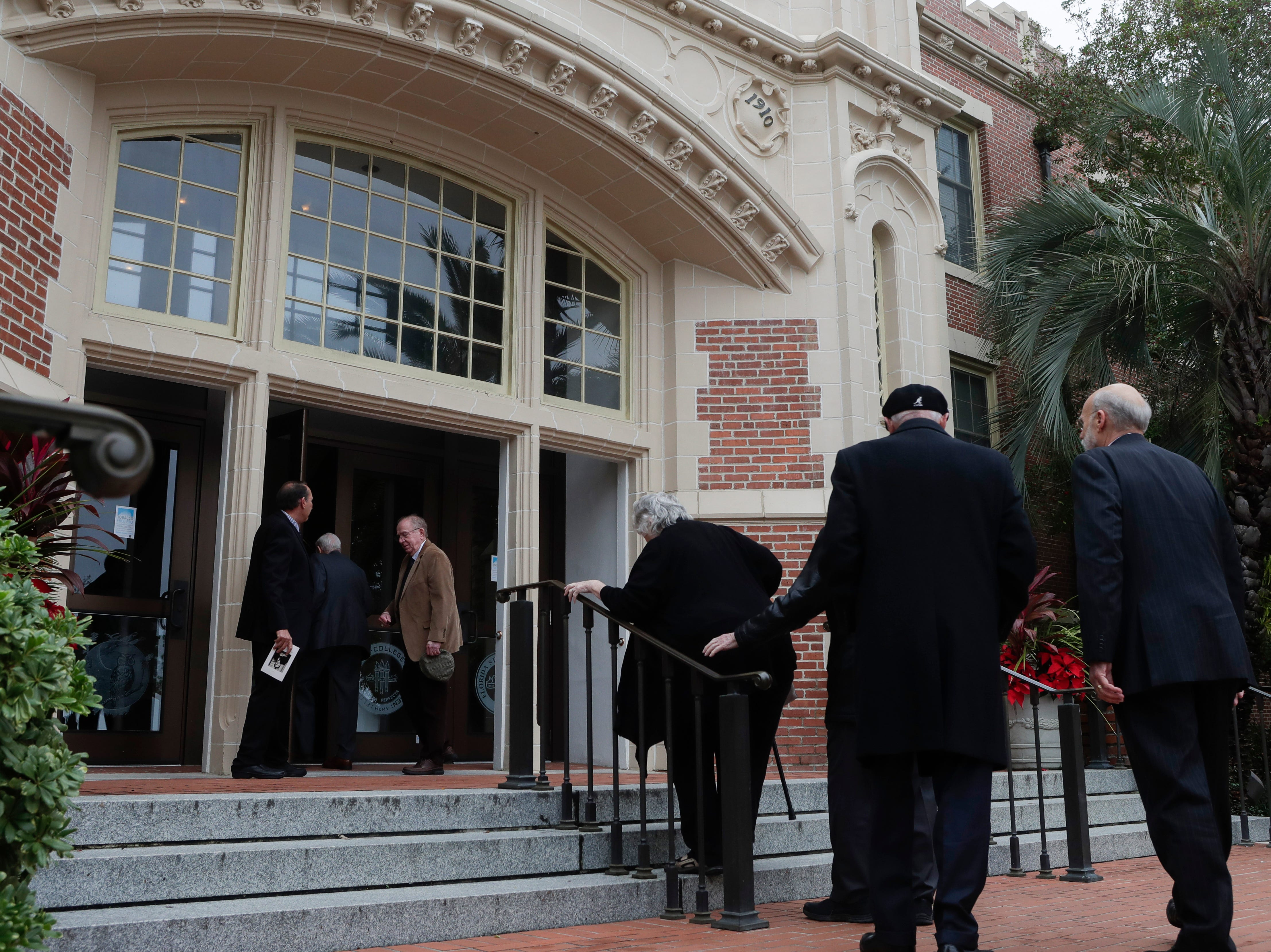 Those who wish to pay their respects make their way into Ruby Diamond for a funeral service for Florida State University President Emeritus T.K. Wetherell held Friday, Dec. 21, 2018.