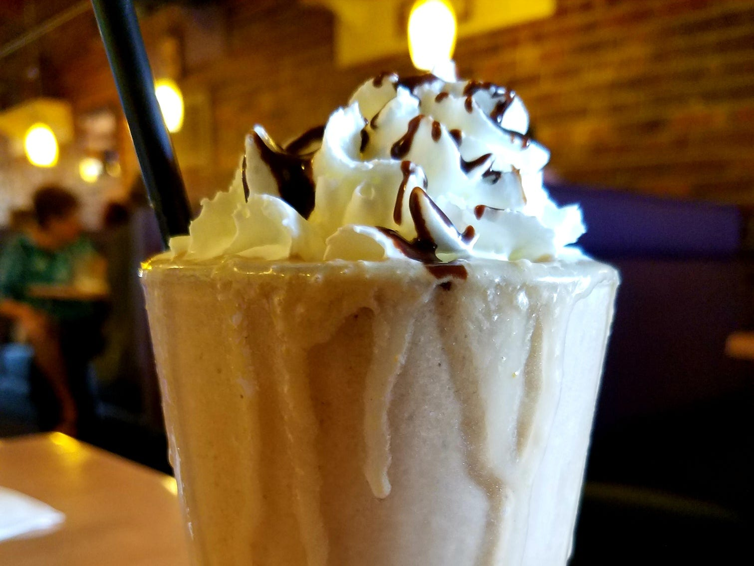 Berry Fresh Cafe's chocolate peanut butter banana smoothie made with low-fat yogurt.