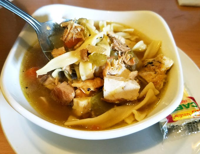 Berry Fresh Cafe's  chicken noodle soup loaded with chunks of chicken, egg noodles and vegetables.