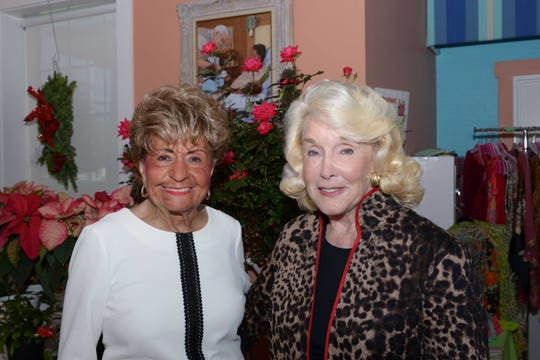 Jo Covelli, left, and Pat Borg at the 13th annual Poinsettia Power! Holiday Bazaar, Luncheon and Fashion Show.