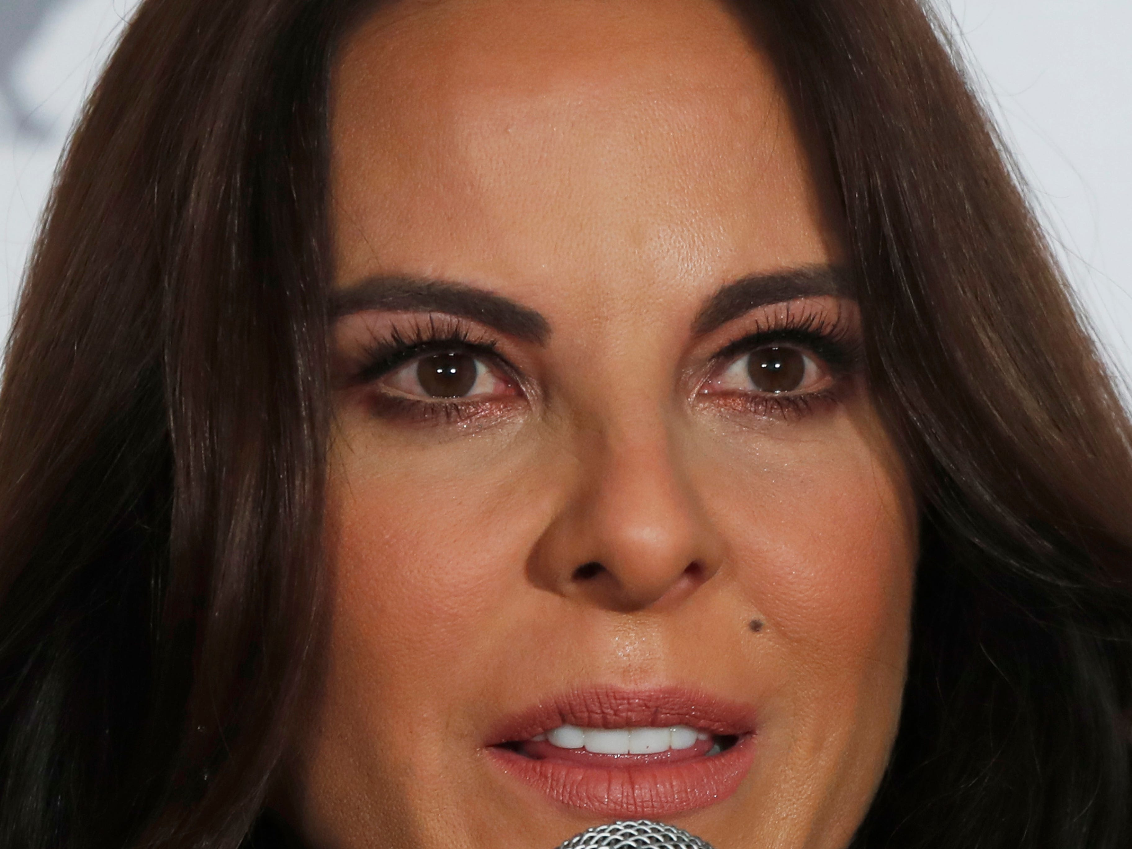 """Mexican actress Kate del Castillo gives a press conference in Mexico City, Thursday, Dec. 20, 2018. Del Castillo spoke about events surrounding her 2015 meeting with Joaquin """"El Chapo"""" Guzman, a Mexican drug lord who at the time was hiding from authorities. When del Castillo met with Guzman, she said it was with the intent to make a film about his life."""