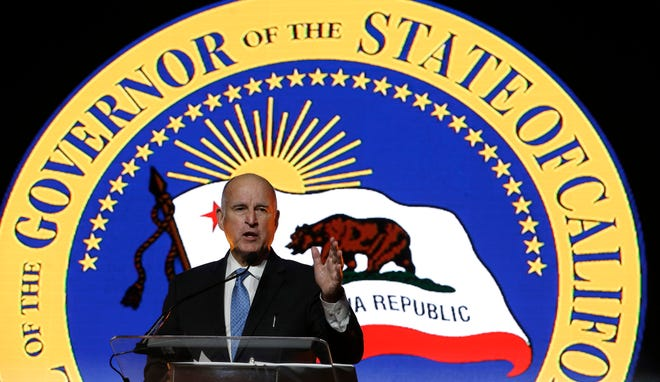 In this May 24 file photo, Gov. Jerry Brown speaks at the annual Sacramento Host Breakfast.
