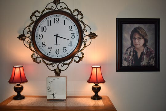 Virginia Xedos of Ventura died on Dec. 10 with doctors saying blood tests confirmed that she had valley fever. Her cremains are shown under the clock.