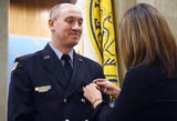 Vineland firefighter Robert Strain is sworn in as a lieutenant by mayor Anthony Fanucci during a special ceremony at City Hall on Friday, December 21, 2018.