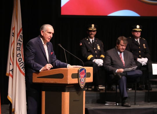 Honorable Anthony A. Scarpino, Jr., Westchester County District Attorney delivers remarks during the 146th Westchester County Police Academy Graduation Ceremony at Purchase College, SUNY, Dec. 21, 2018.