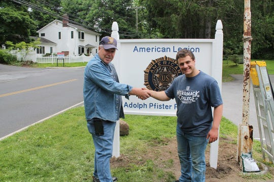 from left: Valhalla American Legion Post Commander John Creskey and Joseph Dapice at Dapice's Eagle Scout project in Valhalla.