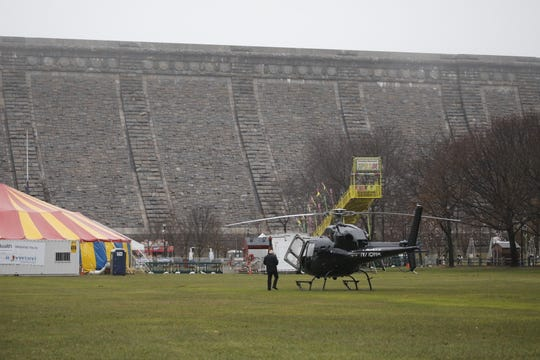 A helicopter was forced to land on the great lawn at Kensico Dam Park in Valhalla because of fog and weather on Dec. 21, 2018.