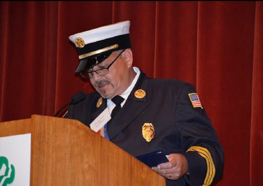 Former Briarcliff Manor Fire  Chief Michael Garcia addresses the Westchester Volunteer Firemen's Association Convention on Sept. 14.
