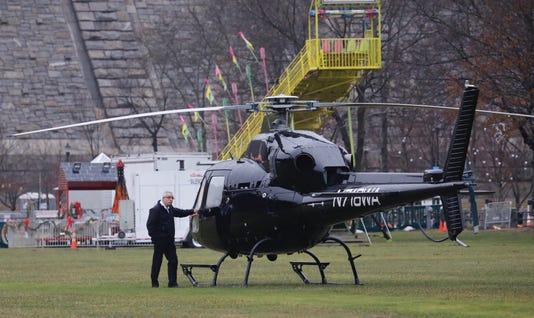 Helicopter lands at Kensico Dam Park