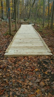 Grady's bridge Fifty-foot boardwalk built in Franklin D. Roosevelt Park by Eagle Scout Arjay Mirchandani.