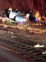 Three people were injured in a crash involving a state police car on Interstate 84 in Kent on Dec. 18, 2018.