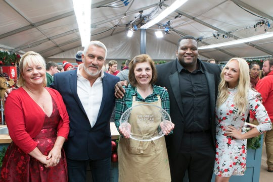"Eastchester resident Tina Zaccardi, middle, on the finale of  Season 4 of ABC's ""Great American Baking Show.""  She was named ""America's Best Amateur Baker"" on Dec. 20."