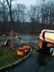 A crash knocked down a utility pole and power lines on Route 306 in Ramapo on Dec. 21, 2018.