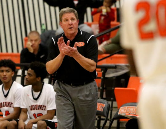 Burkburnett head basketball coach Danny Nix, shown here in a December home game, reached 800 victories Friday night in a win at Iowa Park.