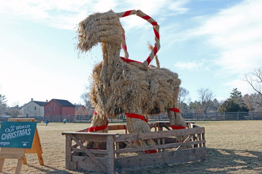 A Yule goat greets visitors to Old World Wisconsin. This is the second year farm staff has created the structure based off Scandinavian tradition.