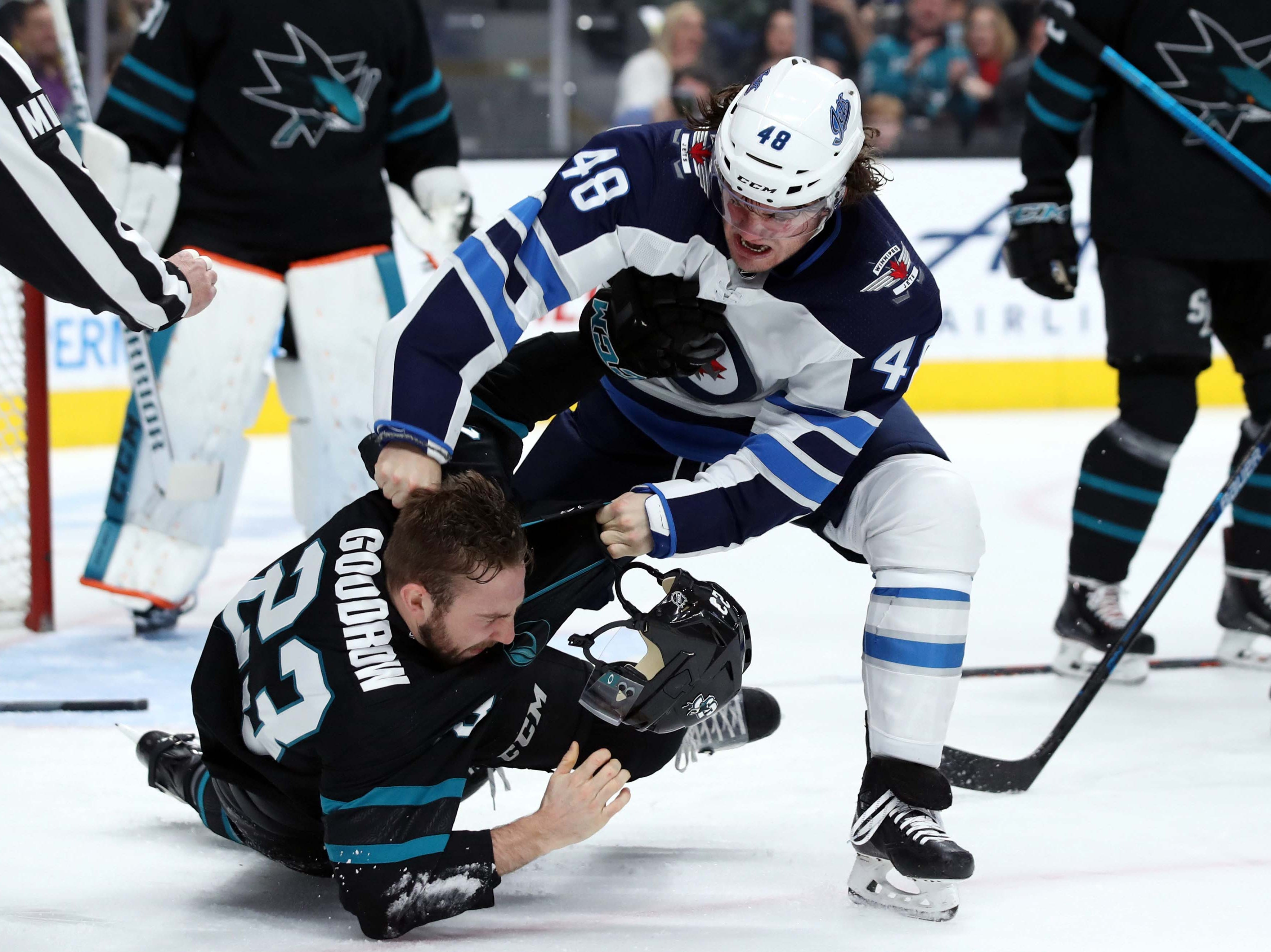 Dec. 20: Winnipeg Jets' Brendan Lemieux vs. San Jose Sharks' Barclay Goodrow